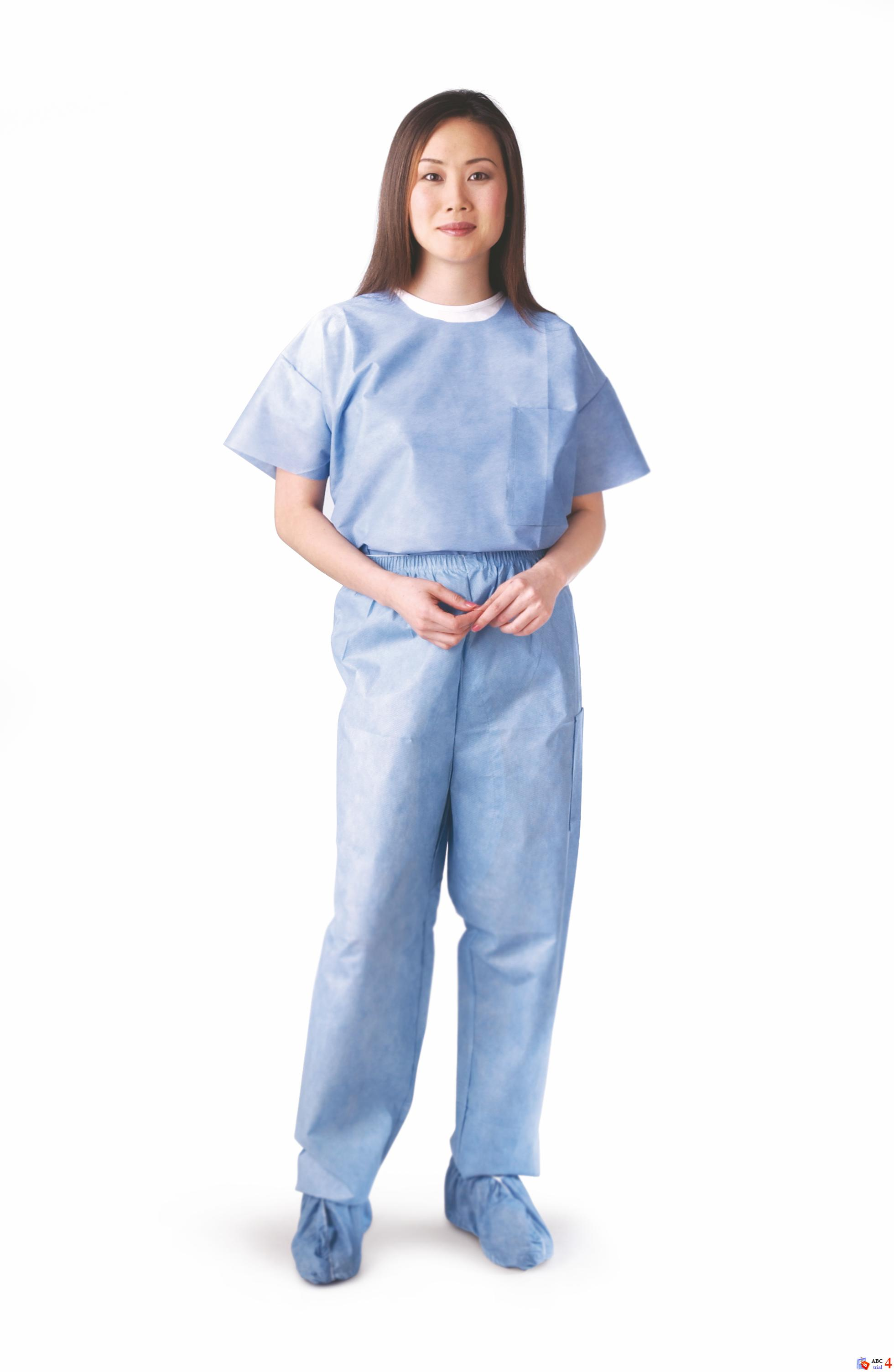 Disposable Scrub Pants with Elastic Waist Blue, Extra-Large (case of 30)
