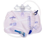 Drain Bags w/ Anti-Reflux Tower & Clamp, 2000ml