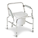 Drop Arm Steel Commode