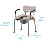 Padded Drop-Arm Commode by Nova (Model# 8901W)
