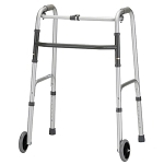 Silver Adult Folding Walker w/Single Button Release by Nova (Model# 4070D)