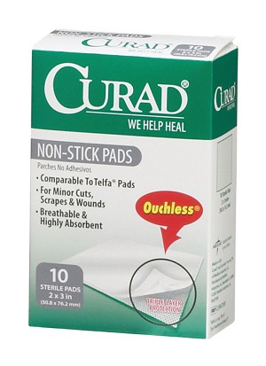 CURAD Ouchless Non-Stick Pad (Case of 12)